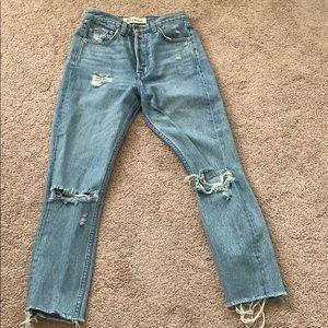 Reformation 26 midrise skinny savu destroyed jeans
